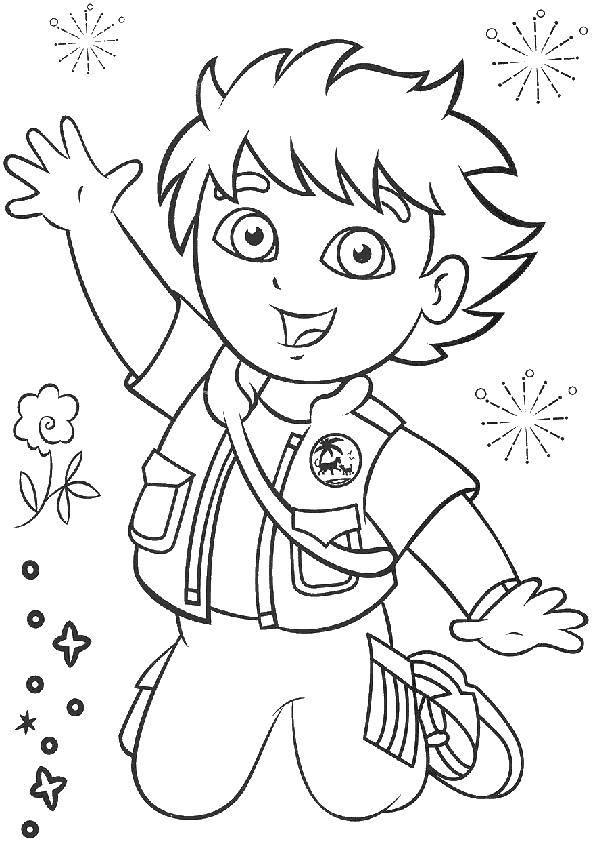 Раскраска Диего, вперед! Скачать Персонаж из мультфильма, Диего, Вперед!.  Распечатать ,раскраски,