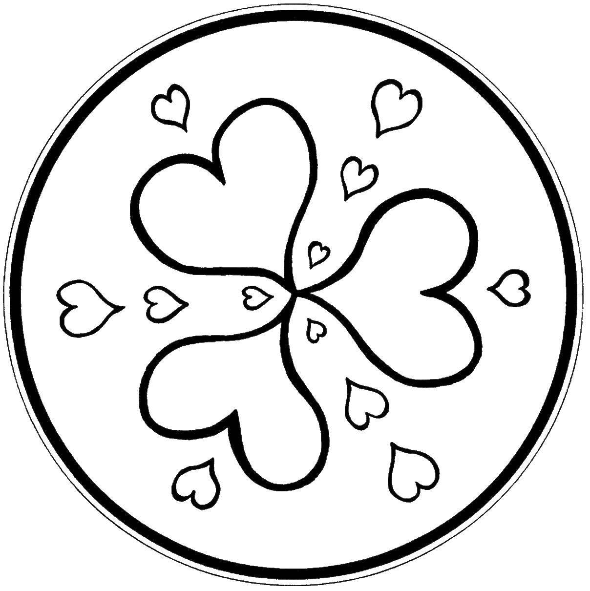 раскраски раскраска сердечки в круге узоры скачать