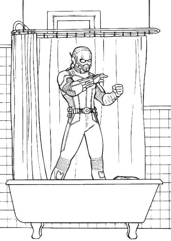Раскраска Человек муравей в ванной Скачать Человек муравей.  Распечатать ,супергерои,