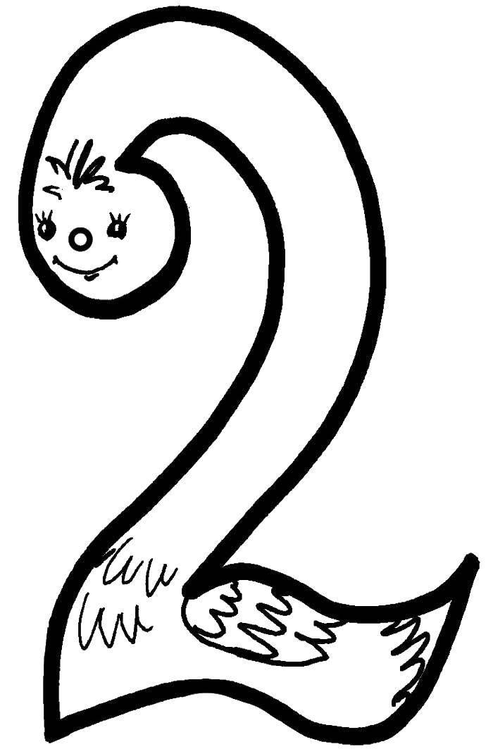 Раскраска Цифра 2. Скачать цифра 2.  Распечатать ,учим числа,