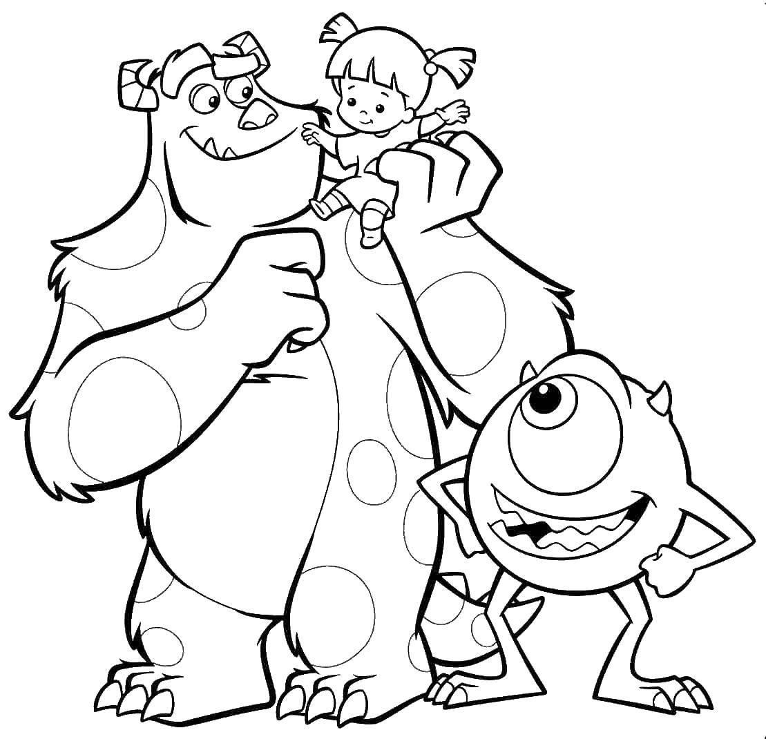 Online coloring pages monster, Coloring page The heroes of monsters ...