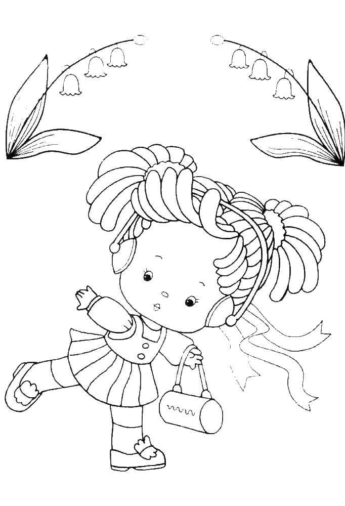 Раскраска Девочка с сумочкой Скачать девочка, сумка.  Распечатать ,Люди,