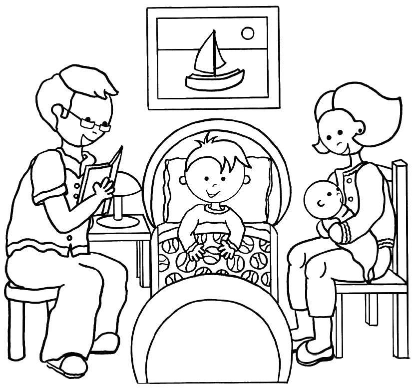 Раскраска Семейный вечер Скачать Семья, родители, дети.  Распечатать ,мама папа я,