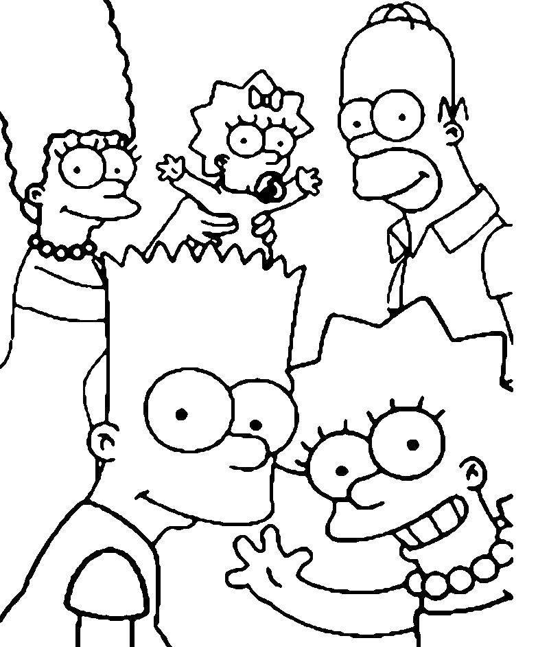 Раскраска Семья симпсоны Скачать ,Симпсоны, семья,.  Распечатать