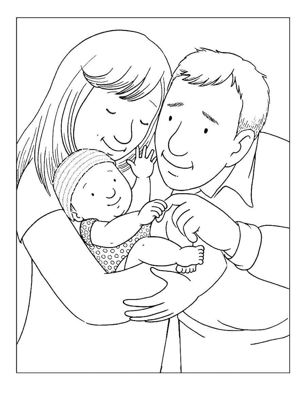 Раскраска семья дедушка бабушка Скачать ,Семья,.  Распечатать