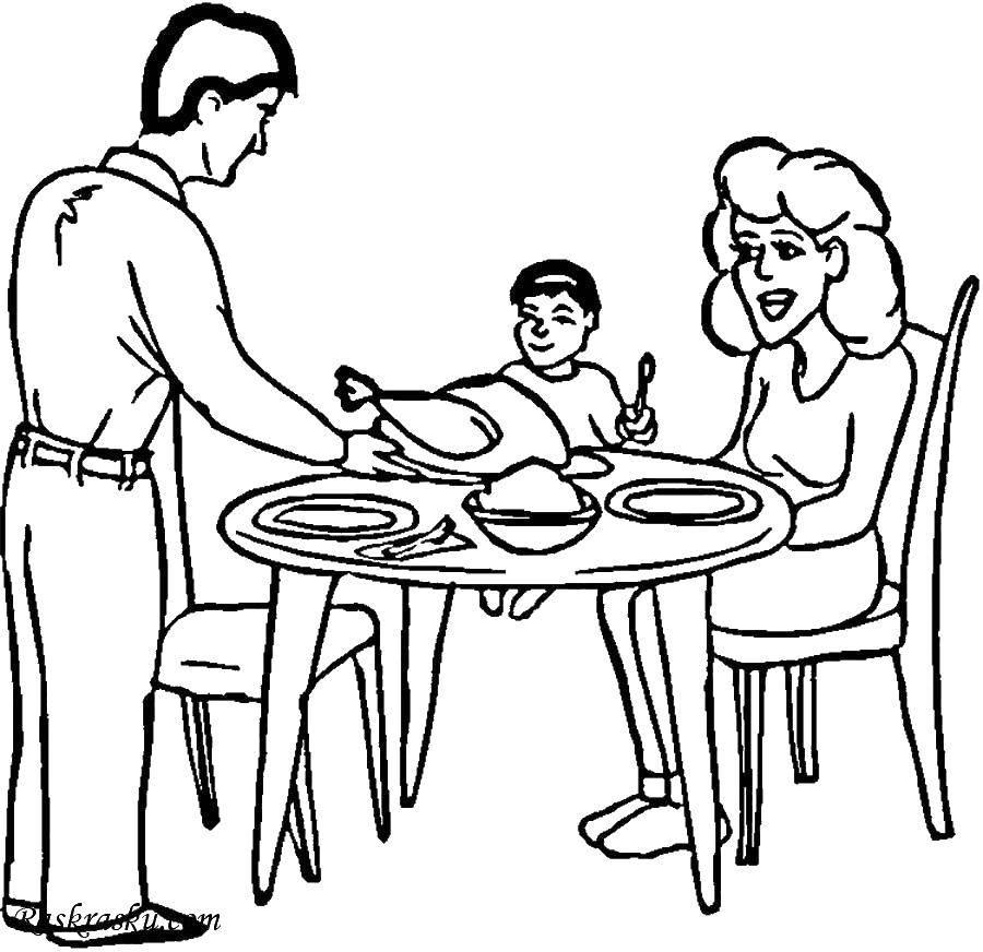 Раскраска Семейный ужин Скачать Семья, родители, дети.  Распечатать ,большая семья,