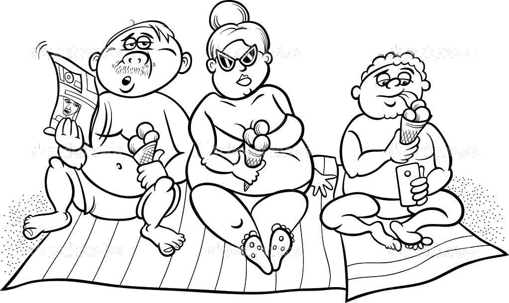Раскраска Семейка Скачать Семья, родители, дети.  Распечатать ,семья на прогулке,