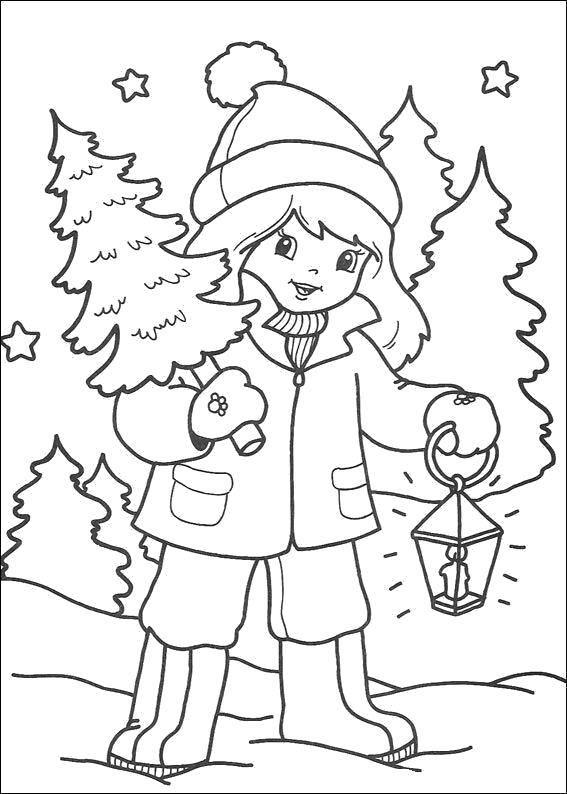 Раскраска Ёлочка на новый год Скачать Зима, лес, веселье, снег.  Распечатать ,зима,
