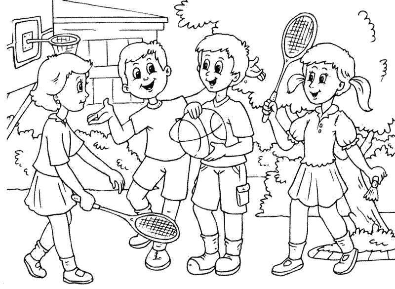 Раскраска Дети играют в игры Скачать Дети, игра, природа.  Распечатать ,дети,
