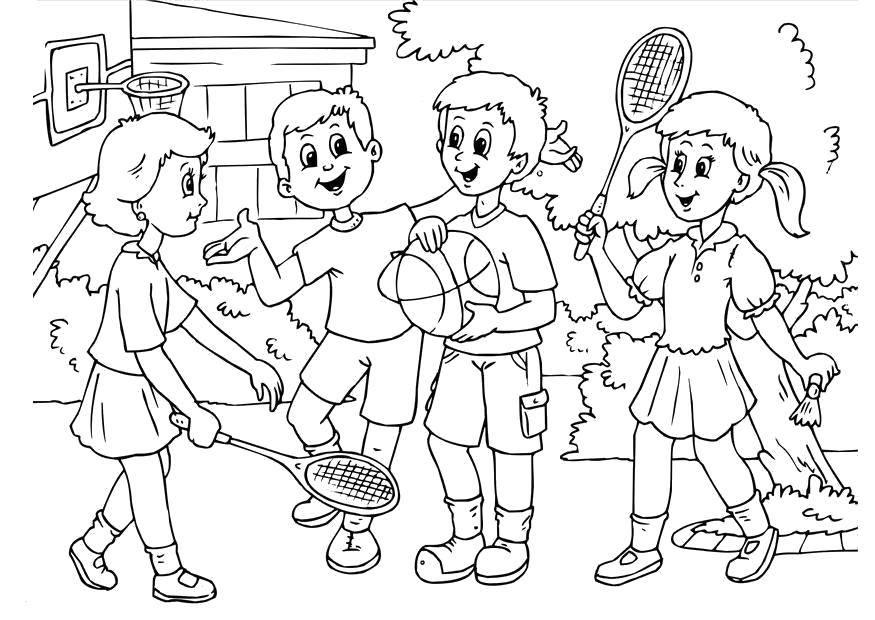 Раскраска Дети играют в игры Скачать Спорт, дети, мяч, игра.  Распечатать ,дружба,