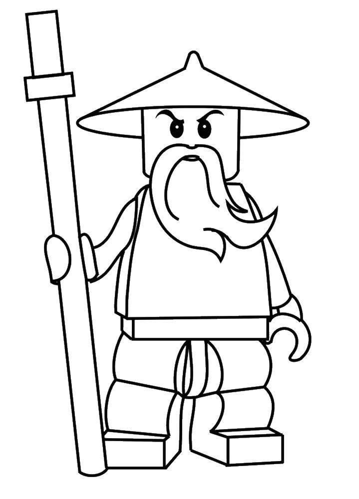 Раскраска Ниндзя из конструктора лего Скачать Ниндзя, конструктор, Лего.  Распечатать ,лего,