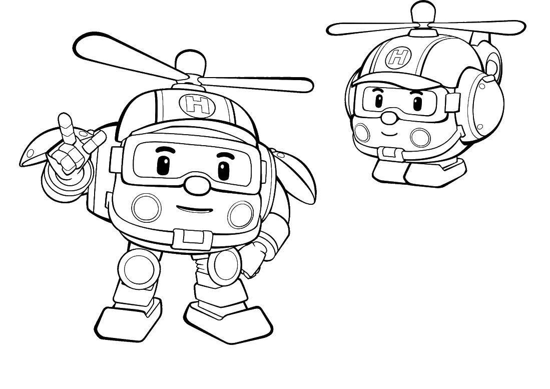 Раскраска Хэли вертолет Скачать ,Хэли, робокар,.  Распечатать