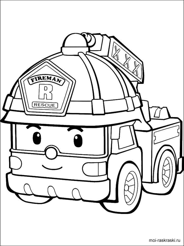 Раскраска Поли робокар Скачать поли робокар, пожарный машина.  Распечатать ,Персонаж из мультфильма,