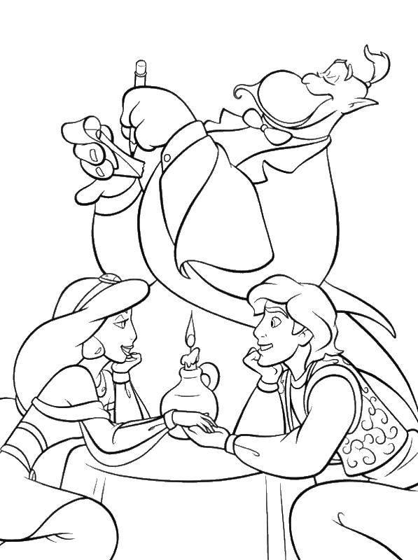 Раскраска Алладин и принцесса шахерезада джин Скачать алладин, принцесса Шахерезада, джин.  Распечатать ,Персонажи из сказок,