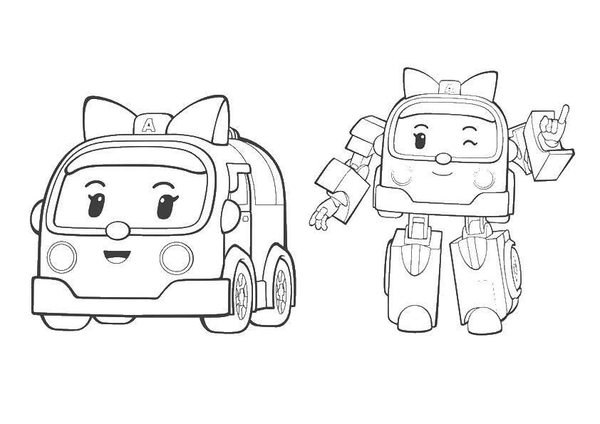 Раскраска Эмбер робокар Скачать Эмбер, робокар.  Распечатать ,поли робокар,