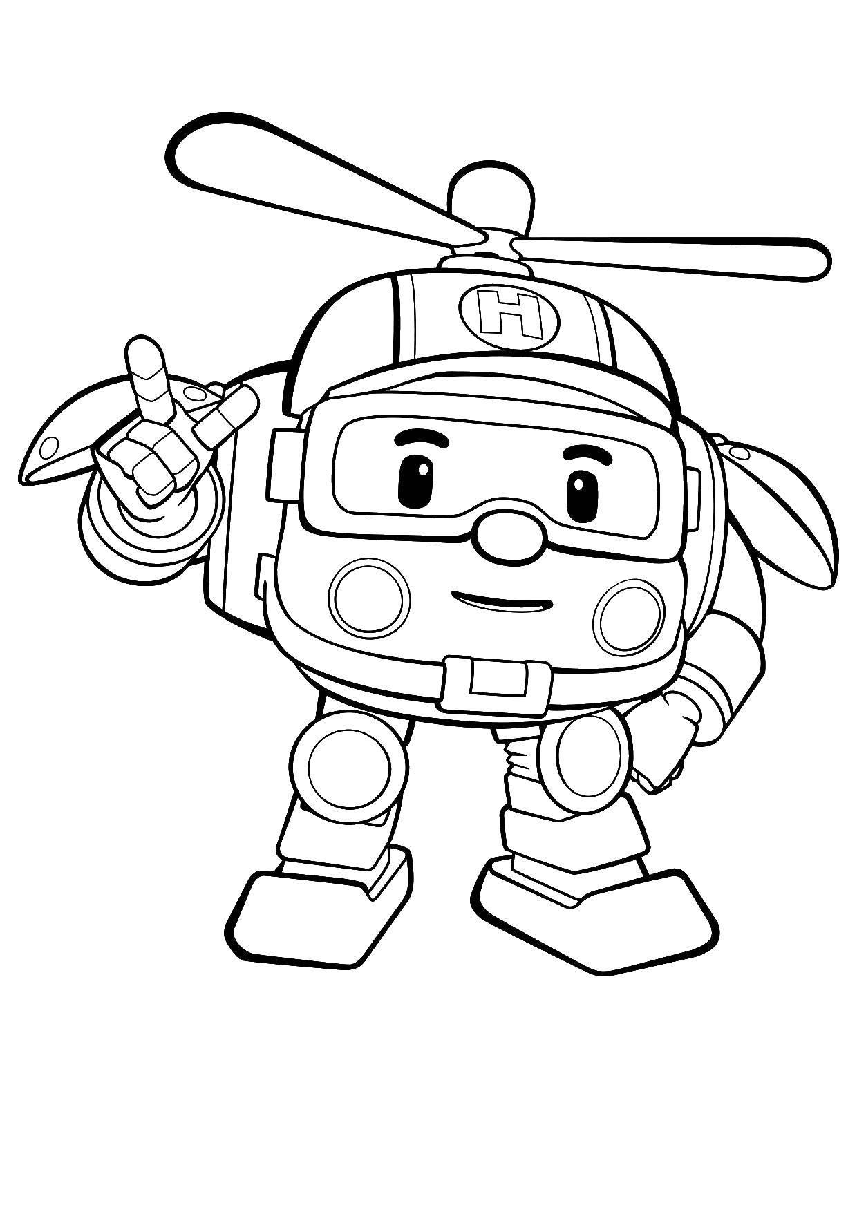 Раскраска Хэли вертолет робокар Скачать ,Хэли, робокар,.  Распечатать