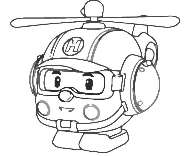 Раскраска Хэли вертолет робокар Скачать Хэли, робокар.  Распечатать ,поли робокар,