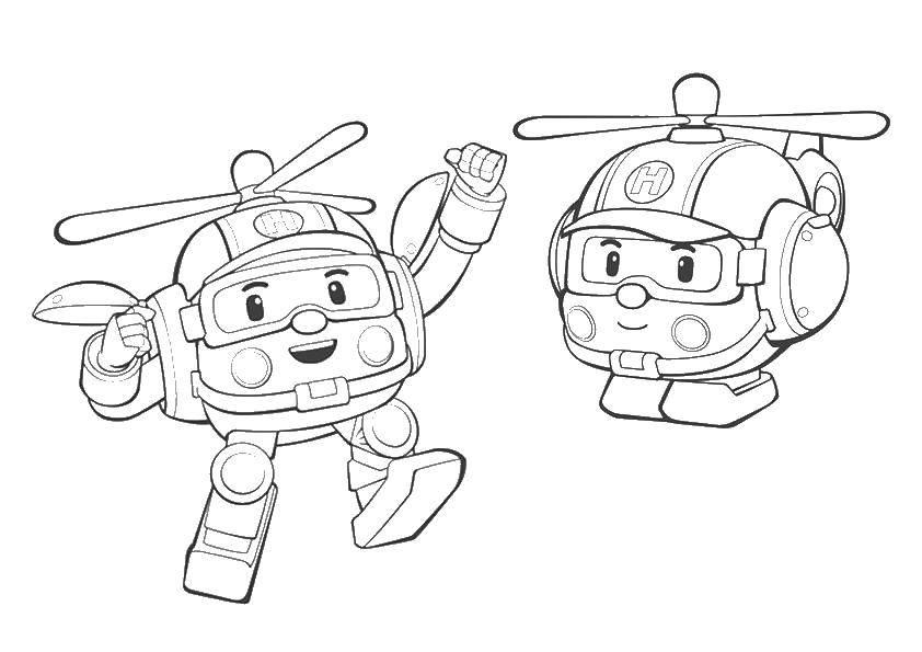 Раскраска Хэли вертолет Скачать Хэли, робокар.  Распечатать ,поли робокар,