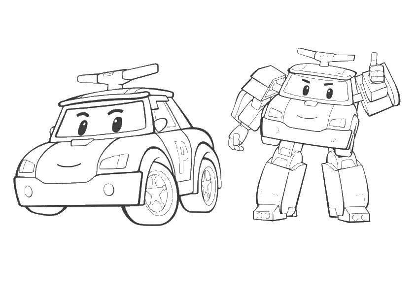Раскраска поли робокар Скачать ,Полиция, машина, Поли, робокар,.  Распечатать
