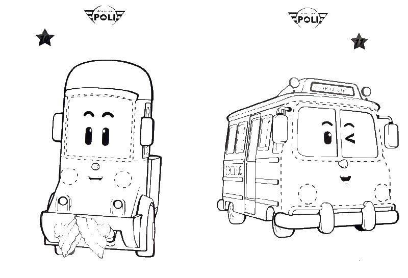 Название: Раскраска Скулби и клини робокар. Категория: поли робокар. Теги: робокар, Скулби, Клини.