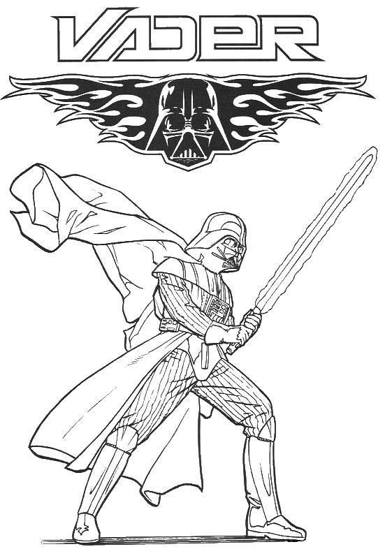 Раскраска Дарт вейдер со световым мечем. Скачать дарт вейдер.  Распечатать ,звездные войны корабли,