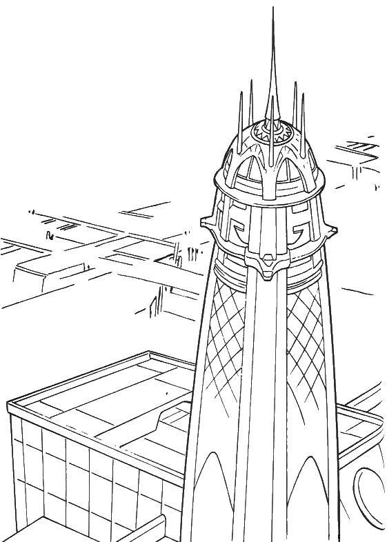 Раскраска Город будущего Скачать город.  Распечатать ,звездные войны корабли,