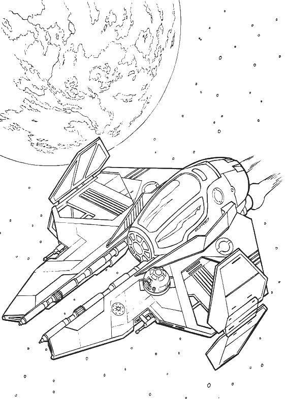 Раскраска Космические корабли, пролет мимо планеты Скачать звездолеты, космолет.  Распечатать ,звездные войны корабли,