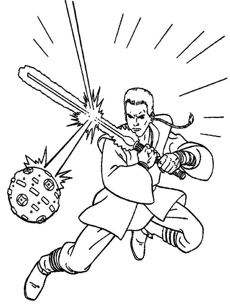 Раскраска Люк учится с тренировочным мечем. Скачать люк.  Распечатать ,звездные войны корабли,