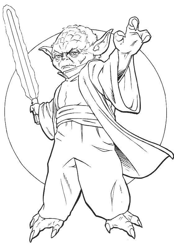 Раскраска Йода с мечем Скачать йода.  Распечатать ,звездные войны корабли,