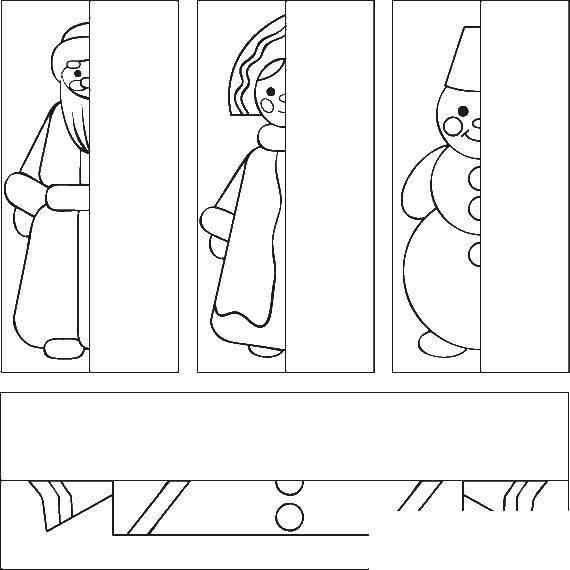 Раскраска Новогодние герои Скачать дедмороз, снеговик, снегурочка.  Распечатать ,снег,