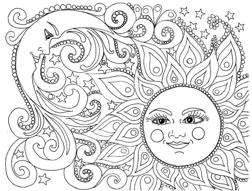 Раскраска Солнце и луна день и ночь Скачать солнце, луна.  Распечатать ,раскраски для взрослых,