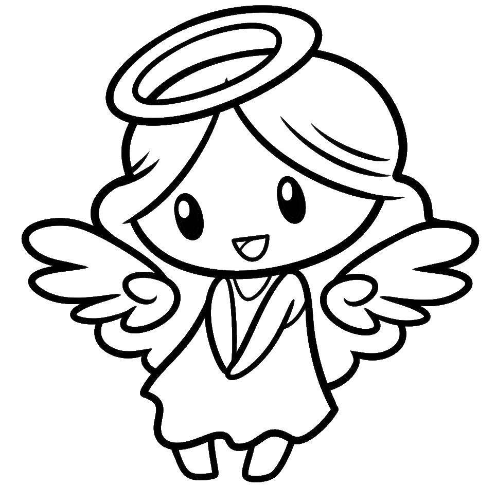 Раскраска ангелы Скачать ,девочка, ангел,.  Распечатать