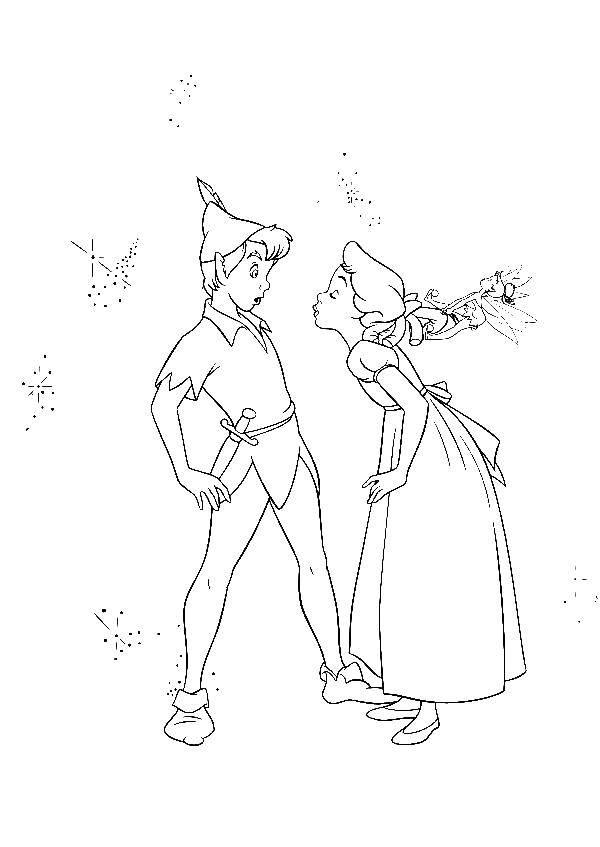 Раскраска Питер пен и девушка Скачать питер пен.  Распечатать ,питер пен,