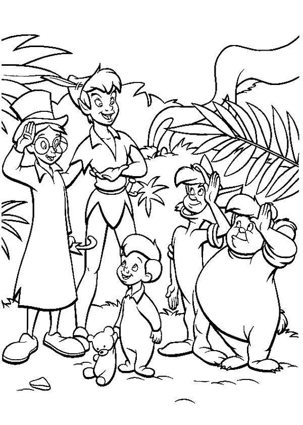 Раскраска Питер пен и его друзья Скачать питер пен.  Распечатать ,питер пен,