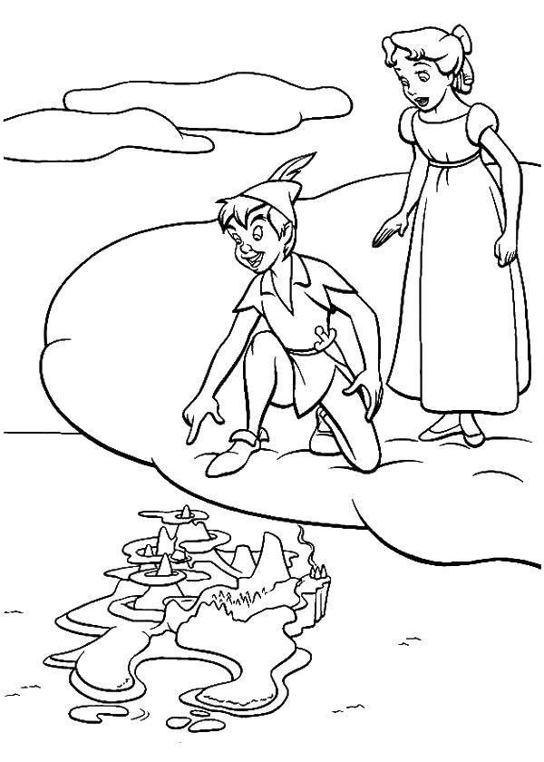 Раскраска Питер пен на облаке Скачать питер пен.  Распечатать ,питер пен,
