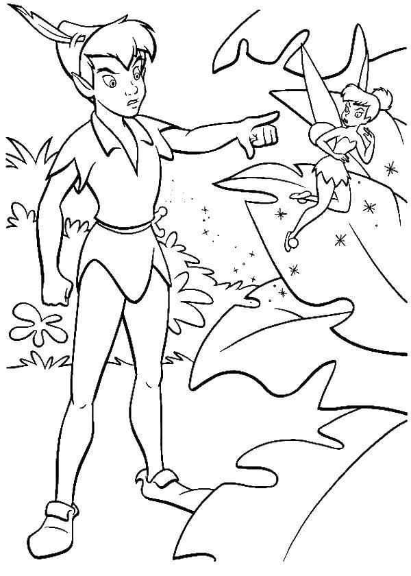 Раскраска Питер пен ругается с феей Скачать питер пен.  Распечатать ,питер пен,
