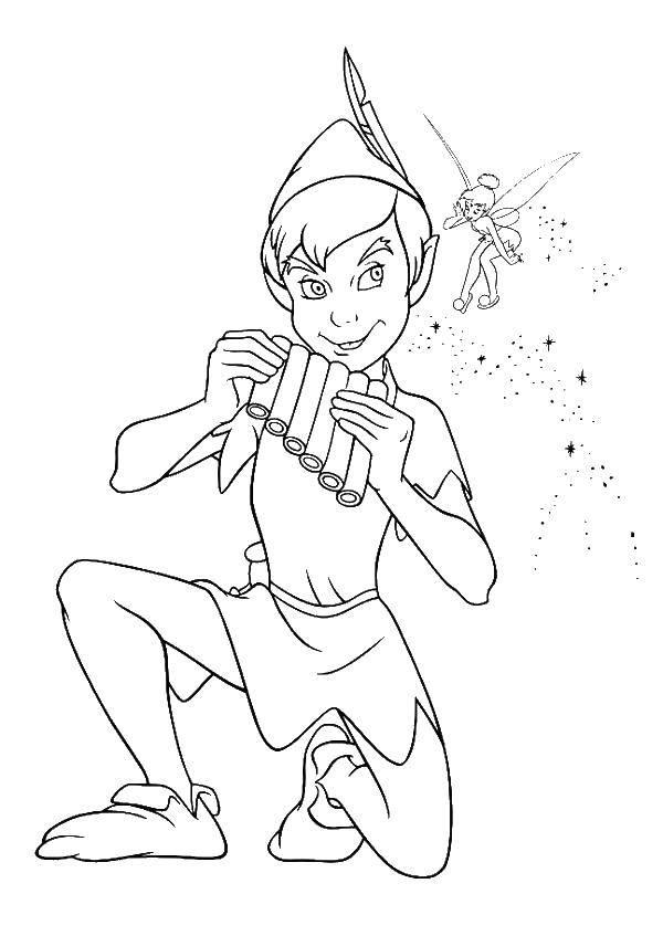 Раскраска Питер пен с феей Скачать питер пен.  Распечатать ,питер пен,