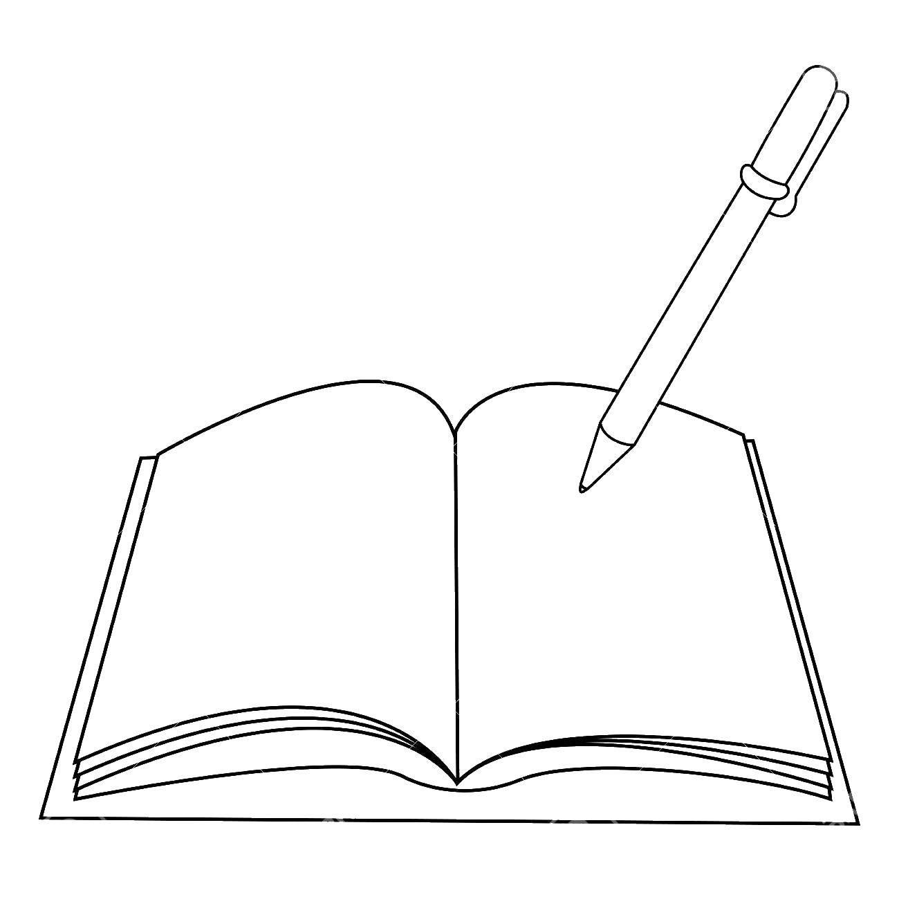 Раскраска Ручка и тетрадь Скачать ручка.  Распечатать ,ручка,