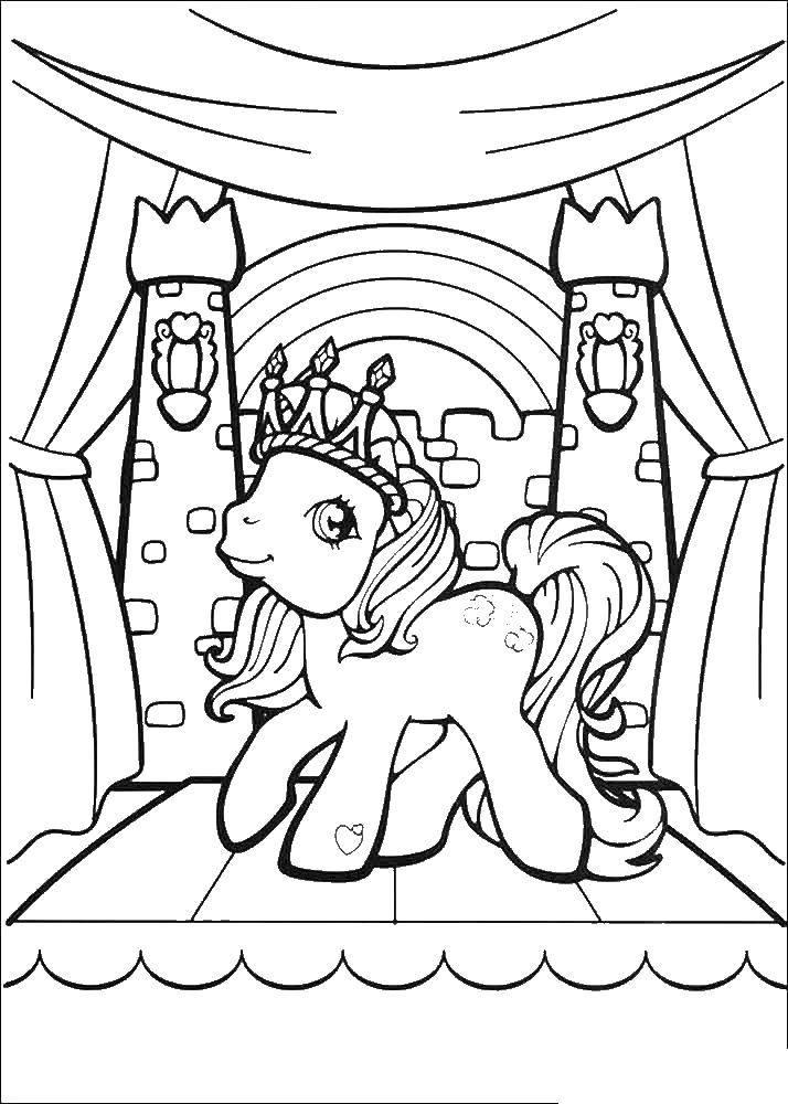 Раскраска Пони с короной Скачать пони.  Распечатать ,мультик,