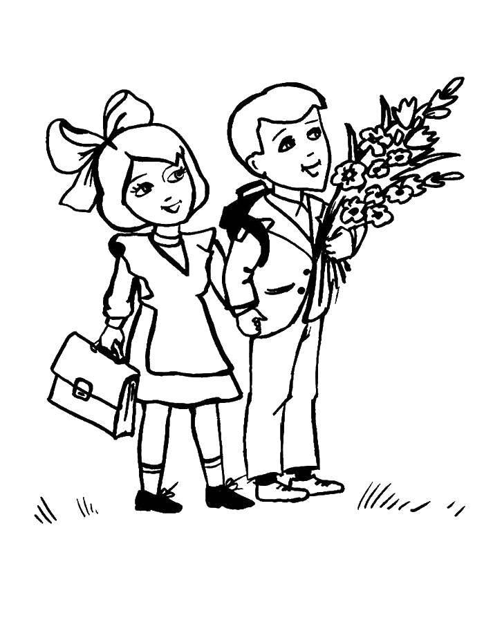 Раскраска Дети идут на первый урок с цветами Скачать дети, ранец, цветы.  Распечатать ,первое сентября,