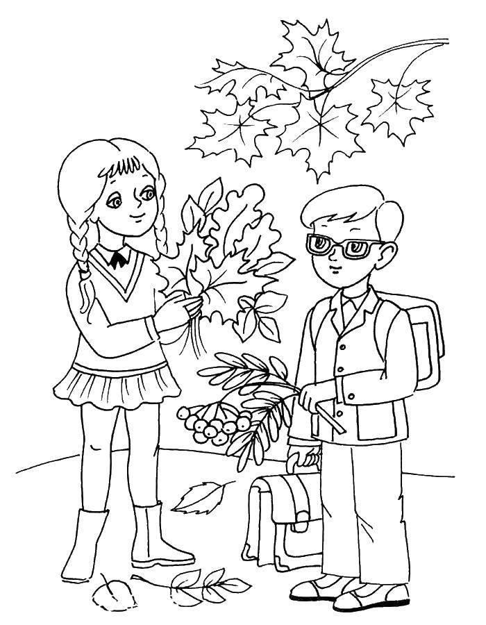 Раскраска Дети идут на первый урок Скачать дети, осень.  Распечатать ,первое сентября,