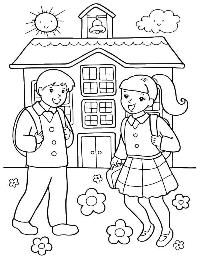 Раскраска Дети идут в школу Скачать школа.  Распечатать ,первое сентября,