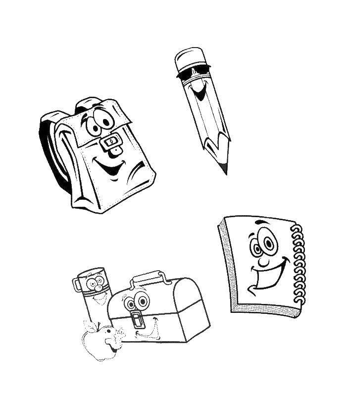 Раскраска Карандаш рюкзак и тетрадь для школы Скачать карандаш, рюкзак, тетрадь.  Распечатать ,школьные принадлежности,