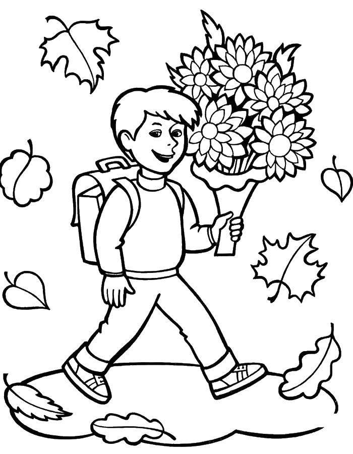 Раскраска Мальчик идет с цветами на первый урок в школе Скачать школа.  Распечатать ,первое сентября,