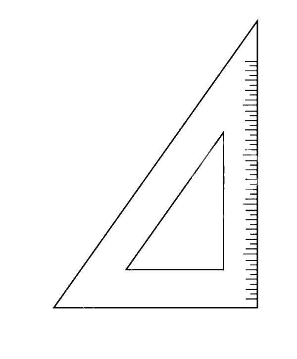 Раскраска Треугольная линейка Скачать линейка.  Распечатать ,школьные принадлежности,
