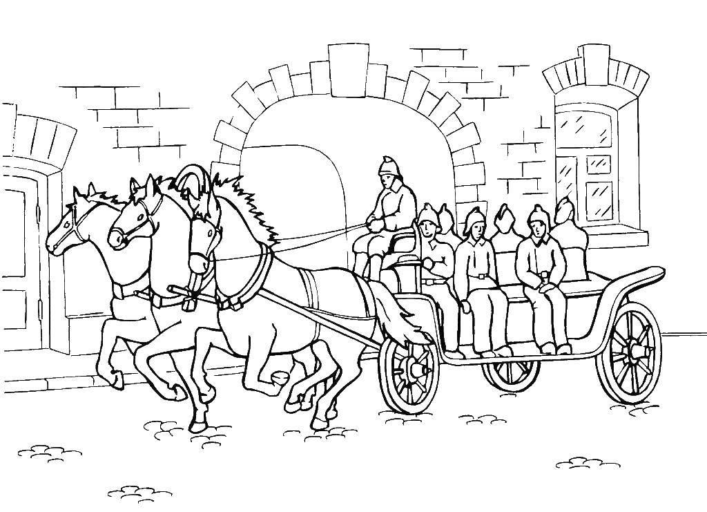 раскраски раскраска тройка лошадей с военными разные