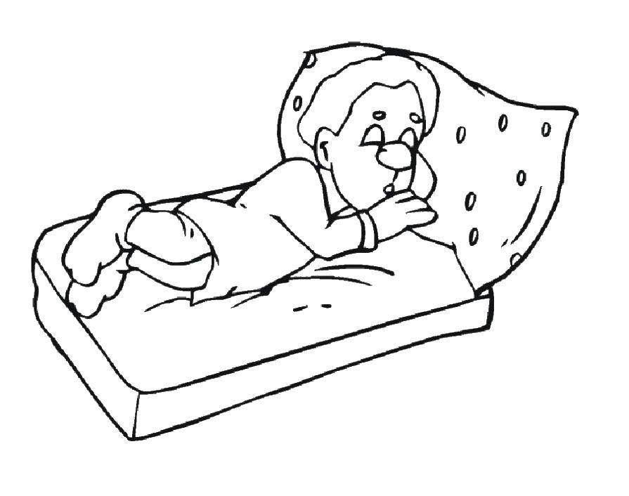 Раскраска Гномик спит Скачать гномик, сон.  Распечатать ,гномы,