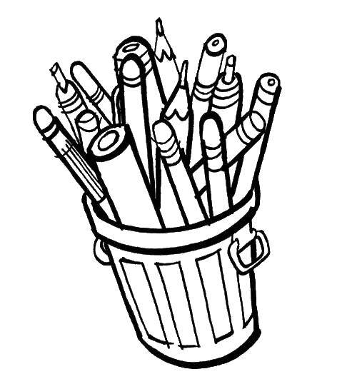 раскраски ручка раскраска карандашница с карандашами и