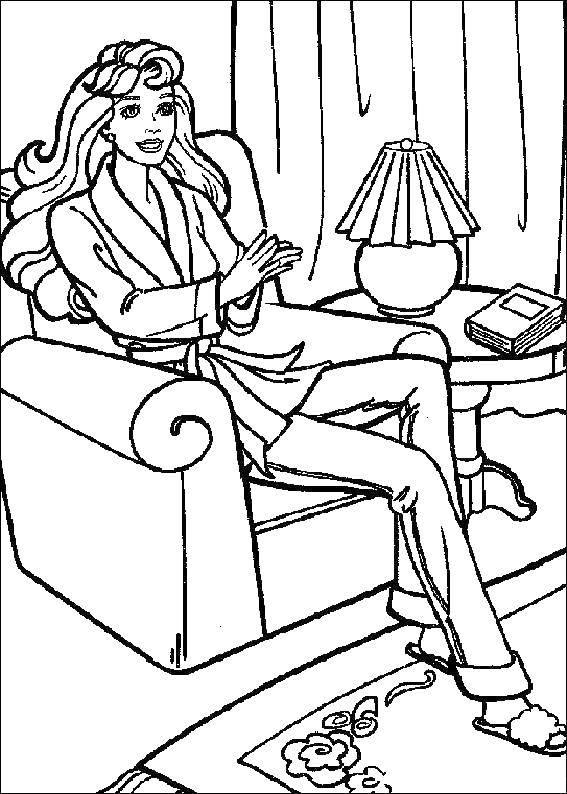 Раскраска Мама с длинными волосами сидит на кресле Скачать мама, кресло.  Распечатать ,мама,