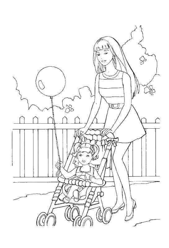 Раскраска Мама с дочкой на коляске гуляют Скачать мама, дочка, шарик, забор.  Распечатать ,мама,